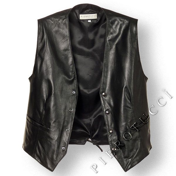 Black Leather Vest with Snap Fasteners