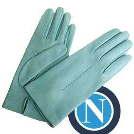 Light Blue Leather Gloves with Silk Lining