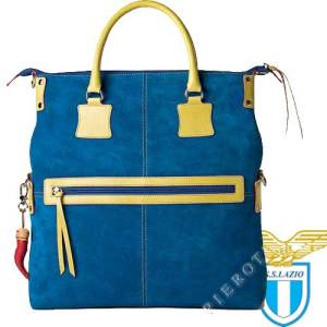 Fortunata Suede Leather Designer Handbag in color sky blue