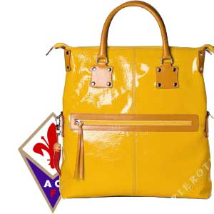 Fortunata Leather Tote, Designer Handbag in color sunshine yellow