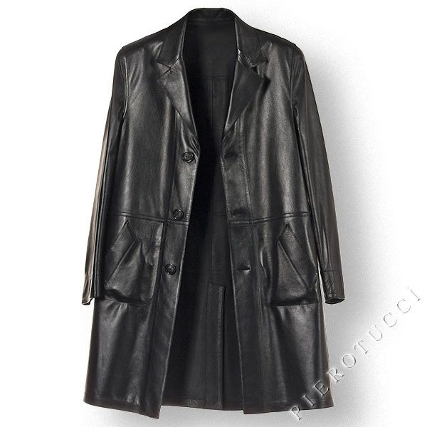 Mens Italian Leather Full Length Coat