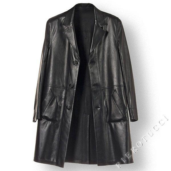 Mens Italian Leather Full Length Coat