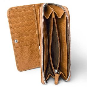 Zip around compartment with coin section and credit card slots