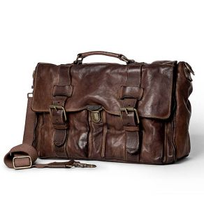 Campomaggi Leather Briefcase with push button lock