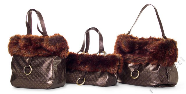 Gherardini Designer Handbags from Italy with Faux Fur
