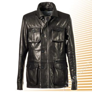 Mens Fitted Genuine Italian Black Leather Winter Jacket