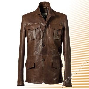 Genuine Italian Leather Sahariana Jacket in a vintage brown
