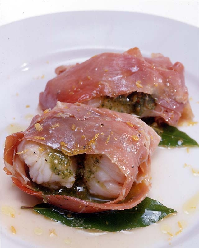Monkfish wrapped in prosciutto with Classic Basil pesto