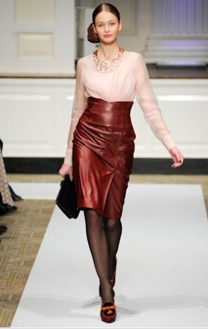 Oscar de la renta 2012 prefall high waisted red leather skirt