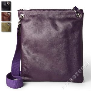 Iris in Viola with a leather messenger bag in purple