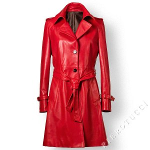 Red nappa leather Trench from Florence Italy