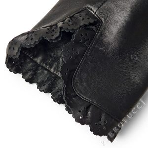 Leather lace at cuff and jacket edging