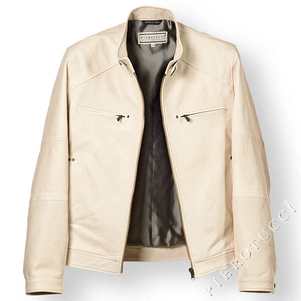 Mens Vintage style Leather Jacket in nappa ivory colored lambskin