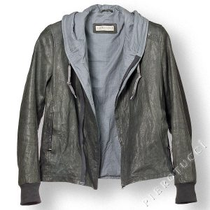 Mens Grey Washed Leather Jacket, style windbreaker