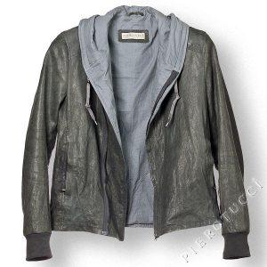 Mens Grey Washed Leather Jacket, style windbreaker