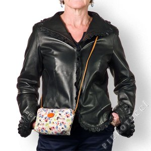 Floral cross body bag in Italian Leather
