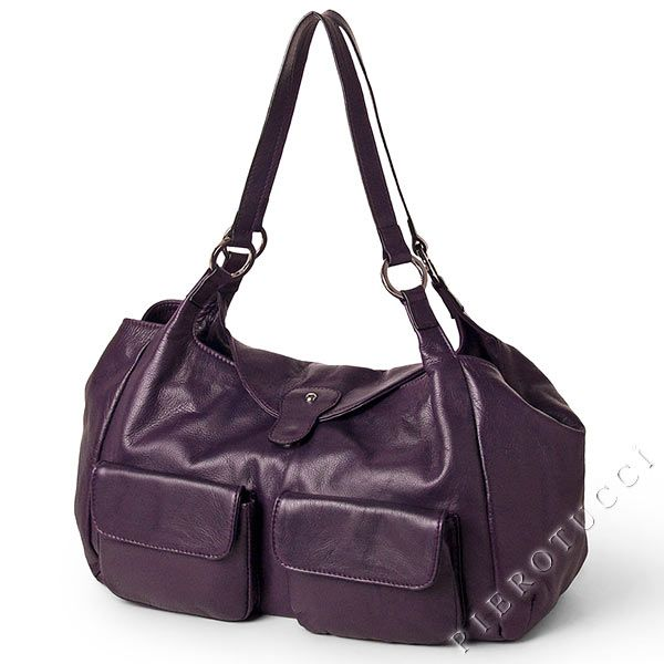 Italian Leather Handbag style satchel ion purple colored nappa