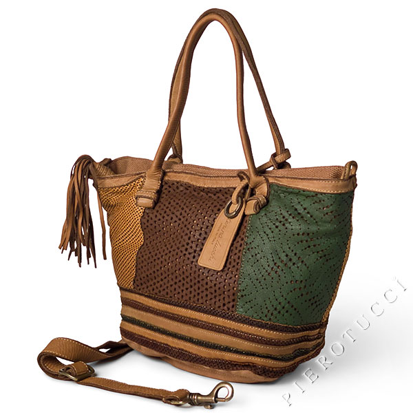Caterina Lucchi Designer Tote bag with leather lace accents