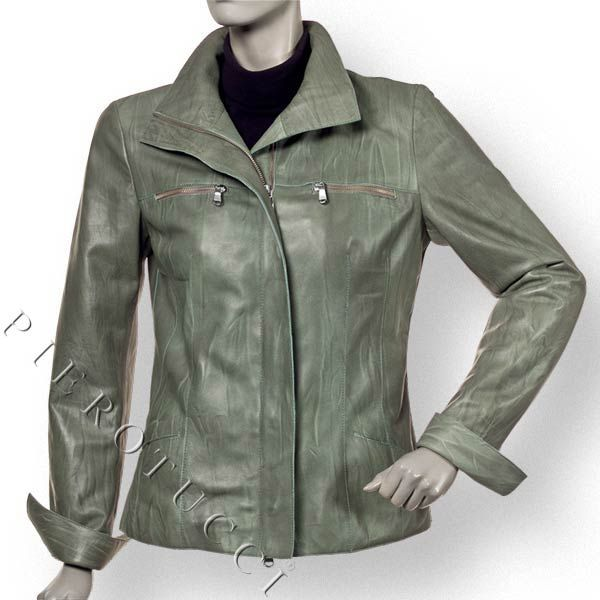 Ladies Leather Jacket in Wrinkled Green Lambskin