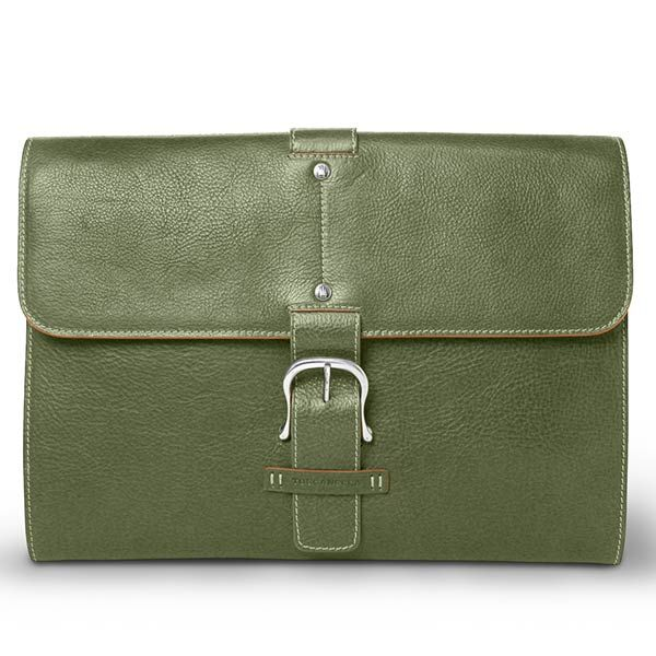 Toscanella Green Leather Document Holder and Laptop or iPad Bag