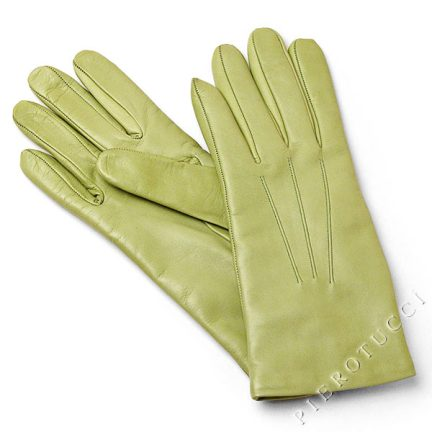 Italian kidskin gloves with wool lining in Pistacchio color