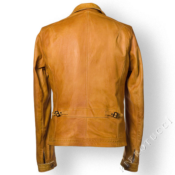 Slim fit leather jacket for men from Pierotucci in Florence, Italy