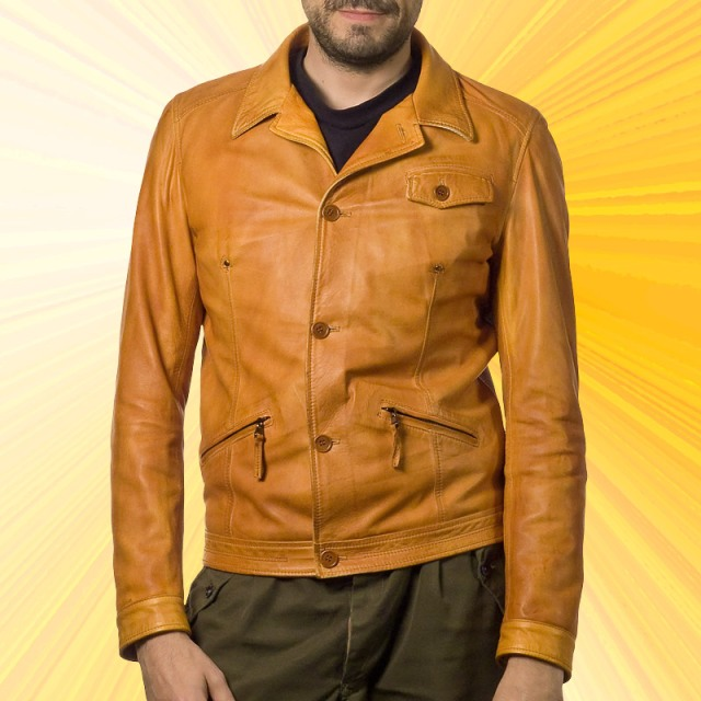 Mens designer leather jacket from Italy