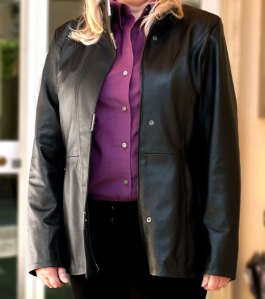 Ladies Designer Leather Jacket from Italy for full figures, black