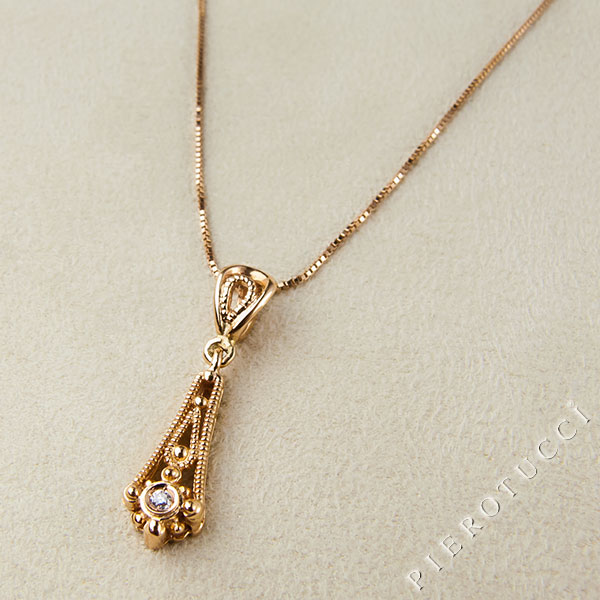 18k pink gold teardrop shaped filigree pendant from Florence Italy