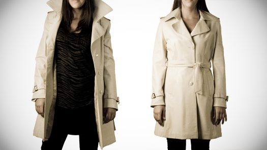 Womens Ivory Colored Leather Trench Coat, A Line style
