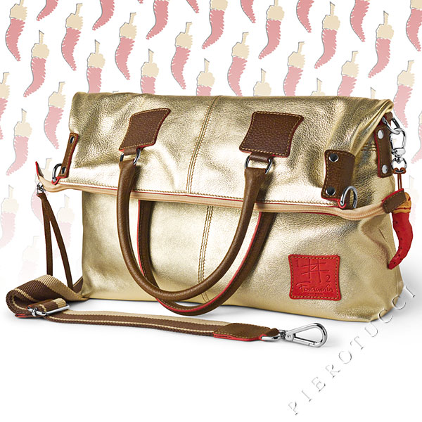 Metallic gold leather FORTUNATA designer Tote handbag from Pierotucci in Italy