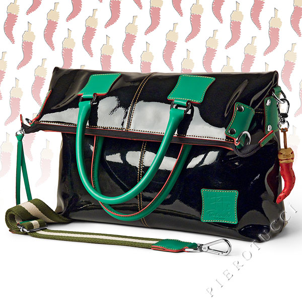 Black patent leather designer handbags from Pierotucci in Florence Italy