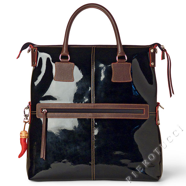 Fortunata Patent Leather bag with Chocolate colored accents