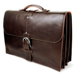 Toscanella Italian Leather Briefcase, 3 sections