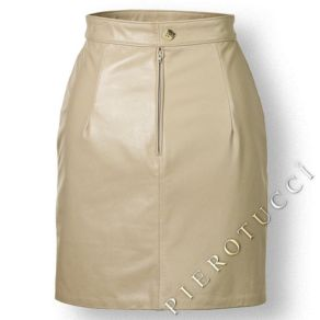Ladies Leather Mini Skirt with front slit