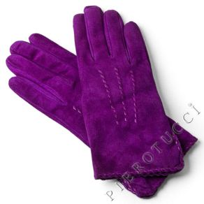 Ladies Purple Suede Gloves with cashmere lining