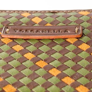 Toscanella Zip Around Clutch Wallet in a brown basket weave