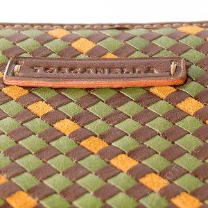 Toscanella Zip Around Clutch Wallet in a brown basket weave