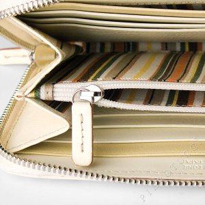 Toscanella Zip Around Clutch Wallet in an ivory basket weave