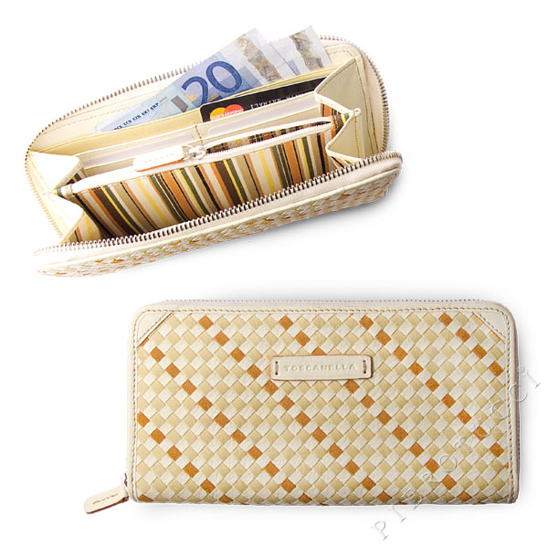 Toscanella Zip Around Clutch Wallet in an ivory basket weave