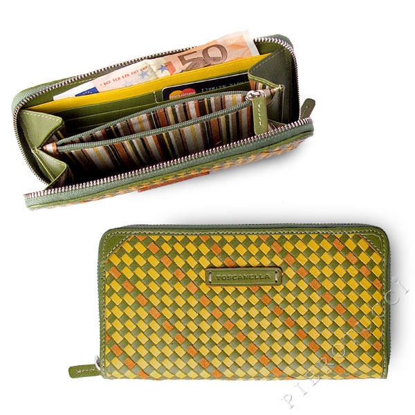 Toscanella Zip Around Clutch Wallet in a green basket weave