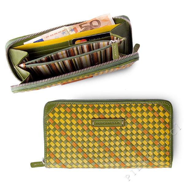 Toscanella Zip Around Clutch Wallet in a green basket weave
