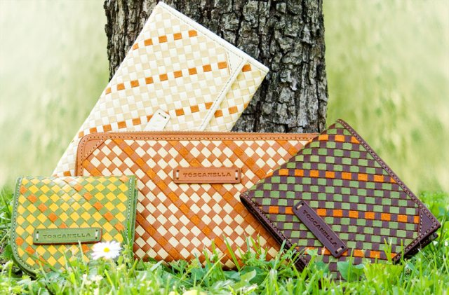 Toscanella Leather Weave wallets and accessories