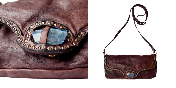 Campomaggi Cross Body Clutch with decorative studs and polished stone