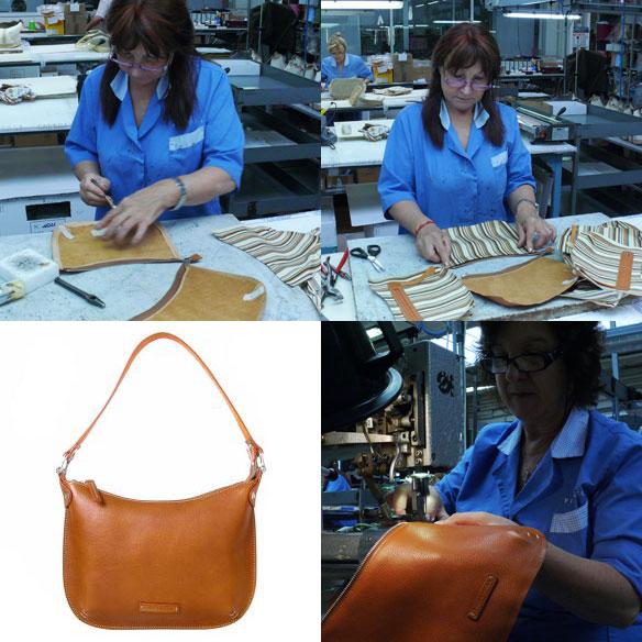Toscanella natural Italian leather top zip hobo bag