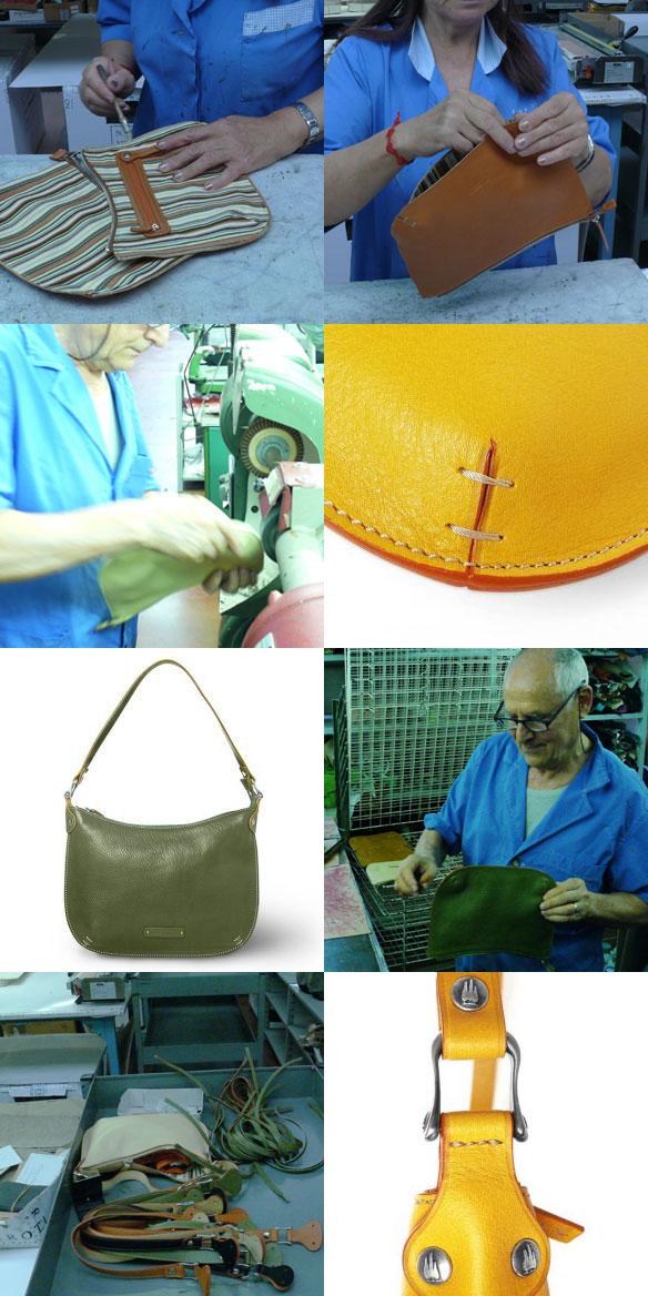 oscanella natural Italian leather top zip hobo bag