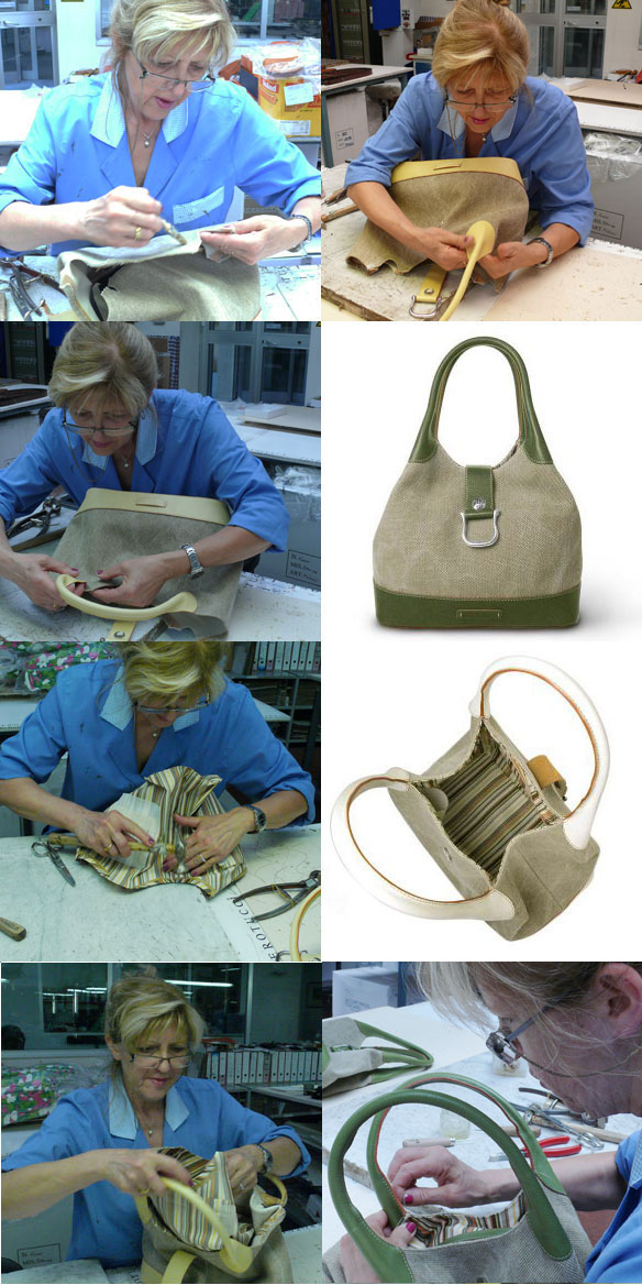 Toscanella Canvas and Italian leather handbag - hobo bag