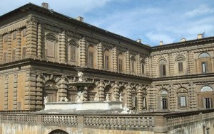 Palazzo Pitti seen from Boboli Gardens in Florence Italy