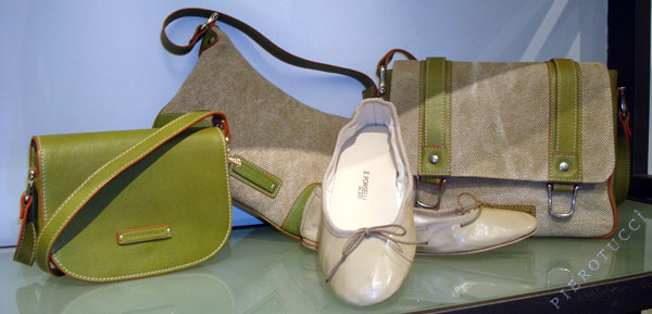 Toscanella Leather and Canvas Bags and Porselli Ballet Flats in beige