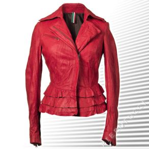 Womens Cropped Leather Jacket with Frilled Peplum
